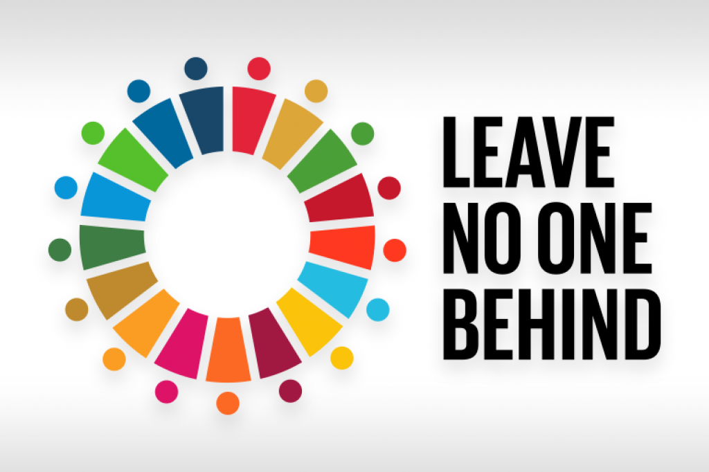 Leave no one behind symbol is the global goals symbol with dots around it.