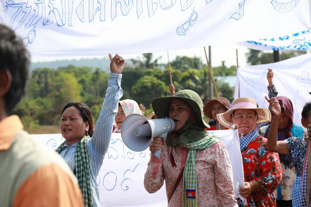 People protesting in the Koh Kong province on International Women's Day, March 8 2020. The new State of Emergency law imposes severe restrictions on the freedom of assembly in Cambodia. Photo: LICADHO