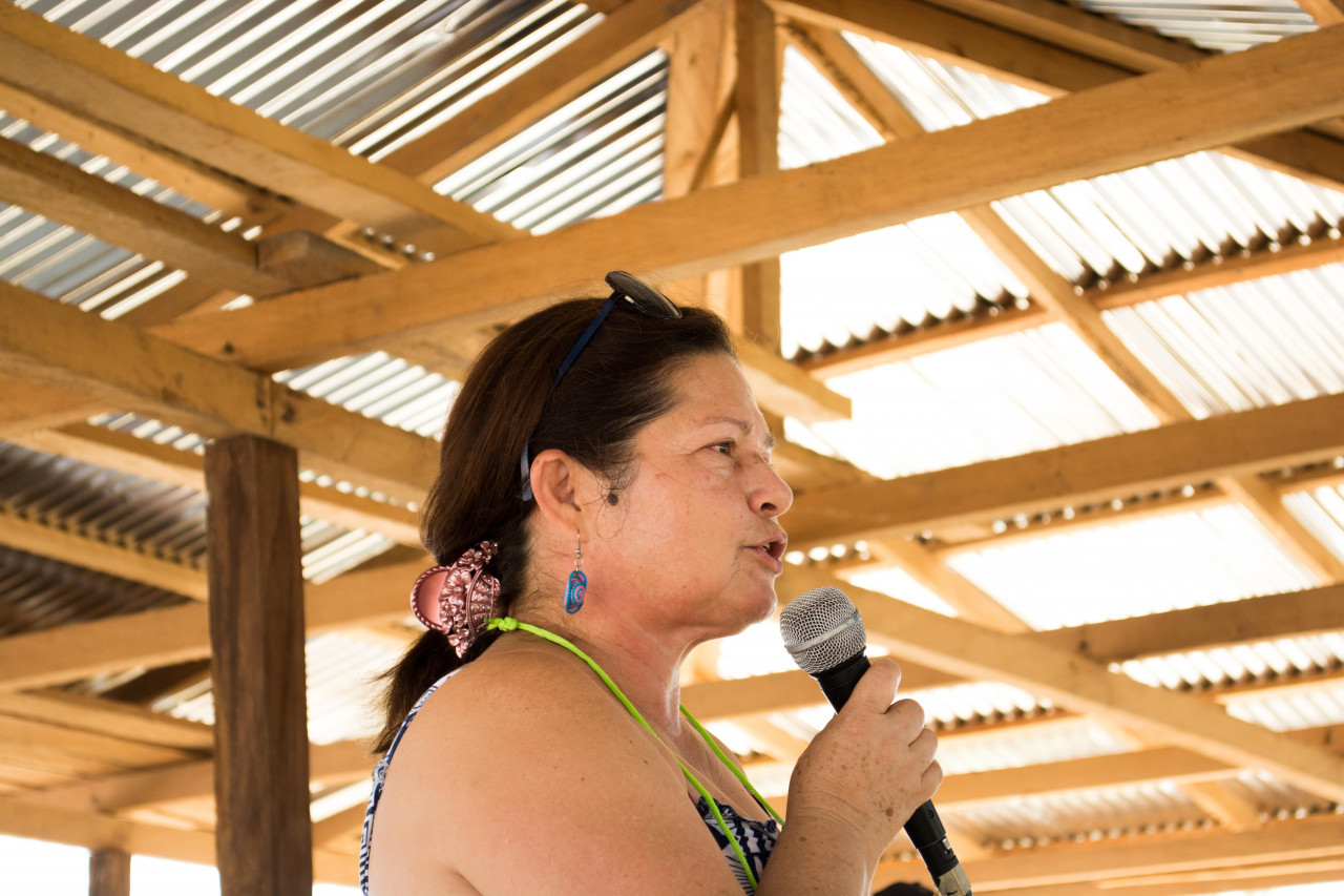 Carmenza Gómez, holding a speech under wooden roof.