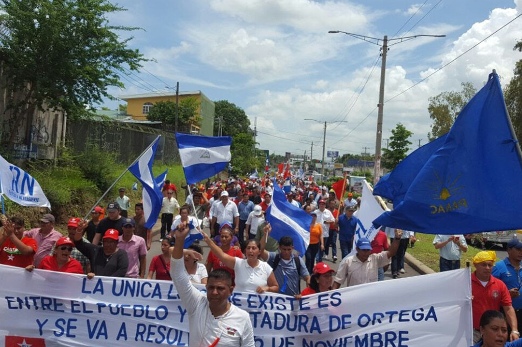 Nicaraguans protesting against the Nicaraguan Canal