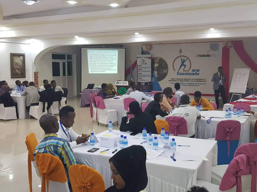Participation of youths in the provisional constitution review processes in Mogadishu on 28th July 2019.