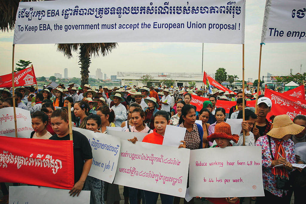 Protesters hold a sign calling on the government to protect Cambodia's Everything But Arms trade scheme. Photo: LICADHO Cambodia.