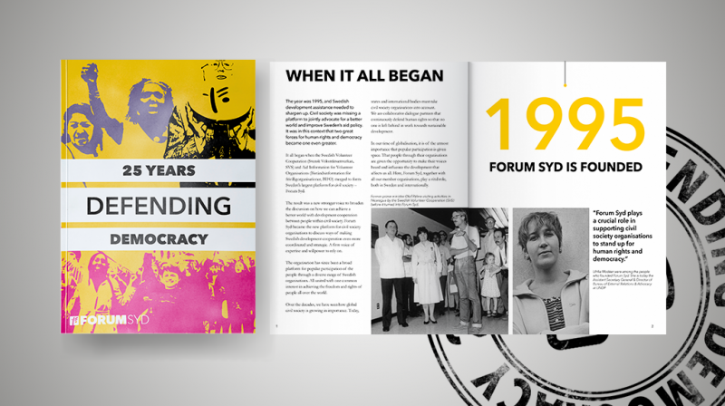 Publication cover page and spread with the text 25 years defending democracy, when it all begand and 1995 Forum Syd is founded.